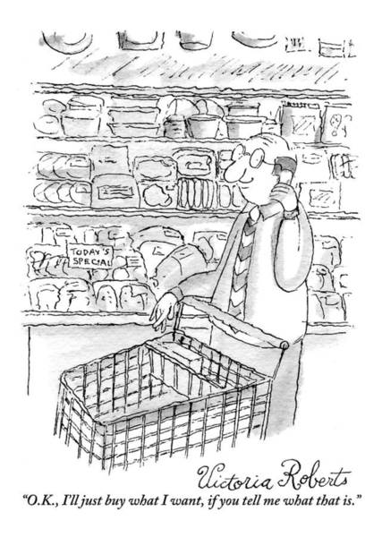 Cart Drawing - A Man Is Seen Pushing A Shopping Cart And Talking by Victoria Roberts