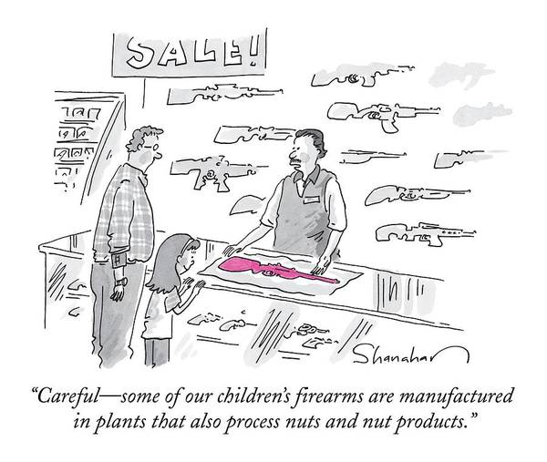 Plant Drawing - A Man Is Selling A Pink Gun To A Small Girl by Danny Shanahan