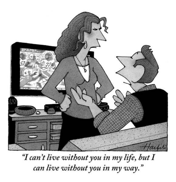 Breakup Drawing - A Man Is Watching Football And A Woman by William Haefeli