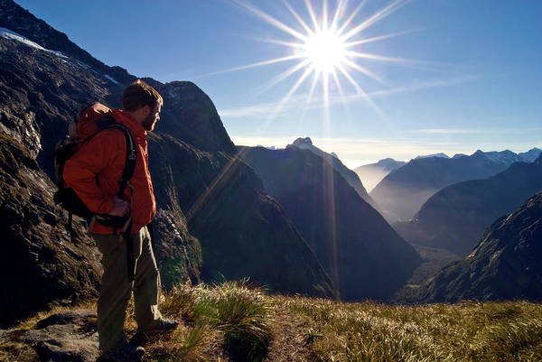 Wall Art - Photograph - A Man Looks Down Towards Milford Sound by Cliff Leight