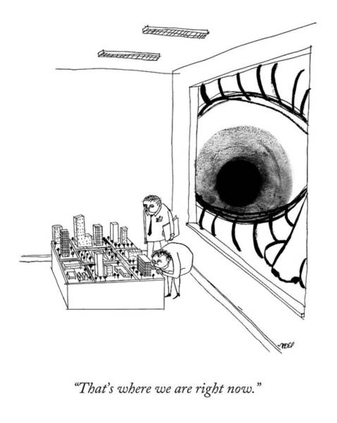 Eye Drawing - A Man Looks Into The Window Of A Miniature by Edward Steed