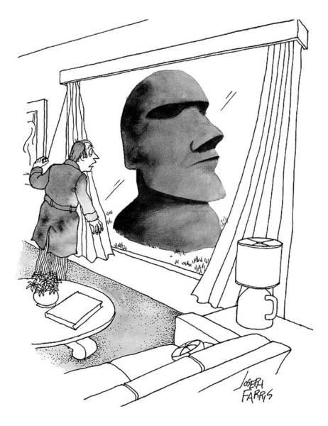 Bathroom Drawing - A Man Looks Out His Living Room Window To See An by Joseph Farris