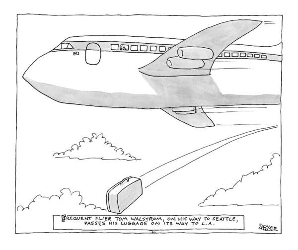 Luggage Drawing - A Man Looks Out The Window Of An Airplane by Jack Ziegler