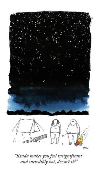 Drawing - A Man Looks Up At The Night Sky by Edward Steed