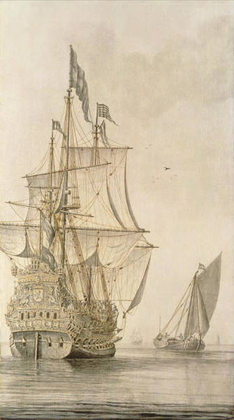 Wall Art - Painting - A Man-o-war Under Sail Seen From The Stern With A Boeiler Nearby by Cornelius Bouwmeester