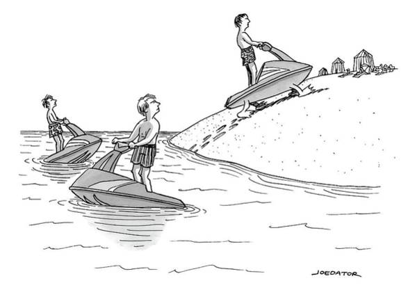 Water Sports Drawing - A Man On A Jetski Looks At Another Man by Joe Dator