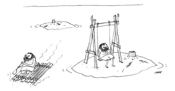 Ocean Drawing - A Man On A Raft Paddles Away From A Desert Island by Edward Steed