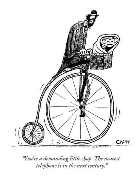 Bicycle Drawing - A Man On An Old Timey Bicycle Speaks To E.t by Tom Chitty