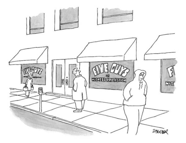Anonymity Drawing - A Man On The Sidewalk Notices The Storefront by Jack Ziegler