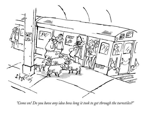 Train Drawing - A Man On The Subway Platform With Five Sheep by Sidney Harris