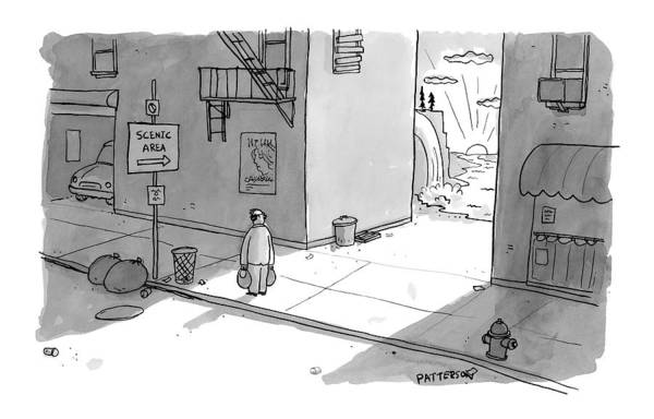 May 30th Drawing - A Man Passing An Alley With A Sign Pointing by Jason Patterson