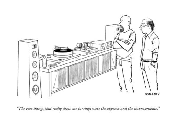 Music Drawing - A Man Shows Another Man His Extensive Collection by Alex Gregory