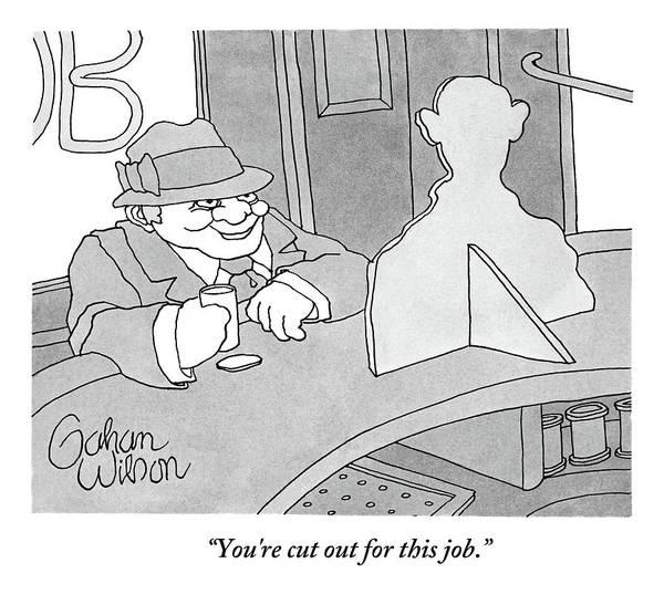 Bartender Drawing - A Man Sits At A Bar Talking To A Cardboard by Gahan Wilson