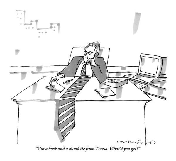 Tie Drawing - A Man Sits At His Office Desk On The Phone by Michael Crawford