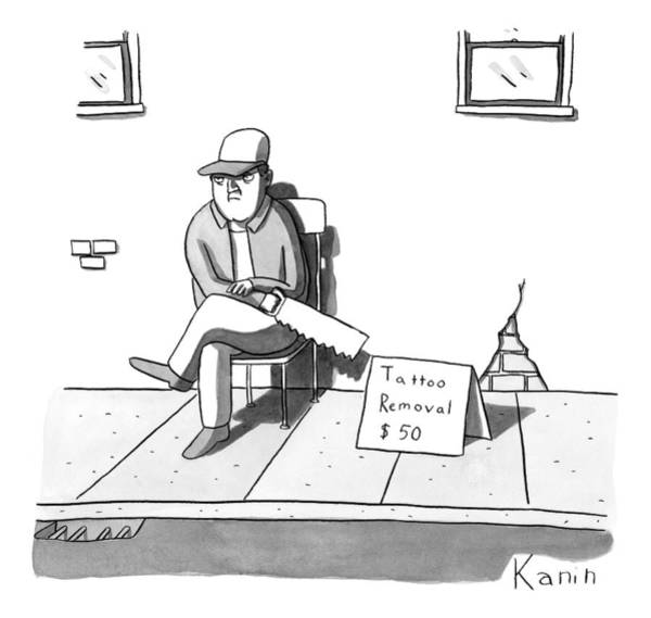Read Drawing - A Man Sits With A Saw Next To A Sign That Reads by Zachary Kanin