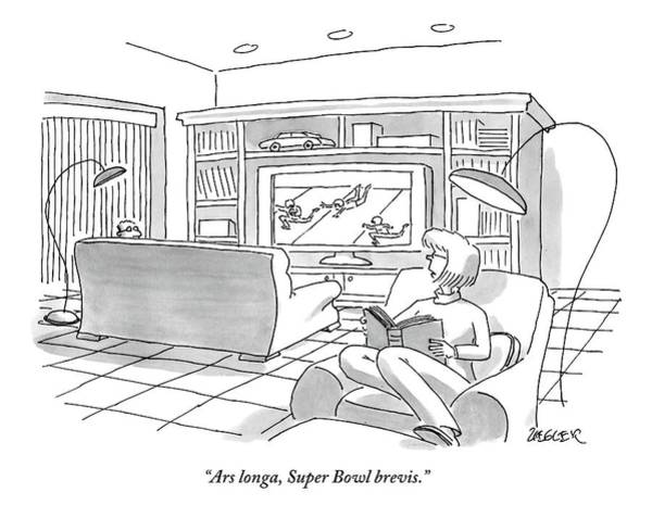 Bowl Drawing - A Man Sitting On A Couch Watching The Super Bowl by Jack Ziegler