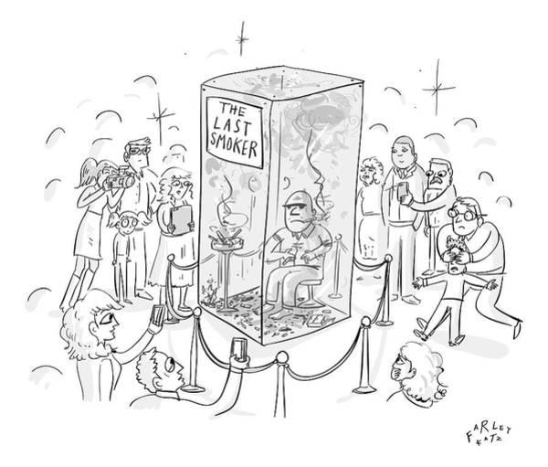 Smoking Drawing - A Man Smokes Cigarettes In A Glass Box by Farley Katz