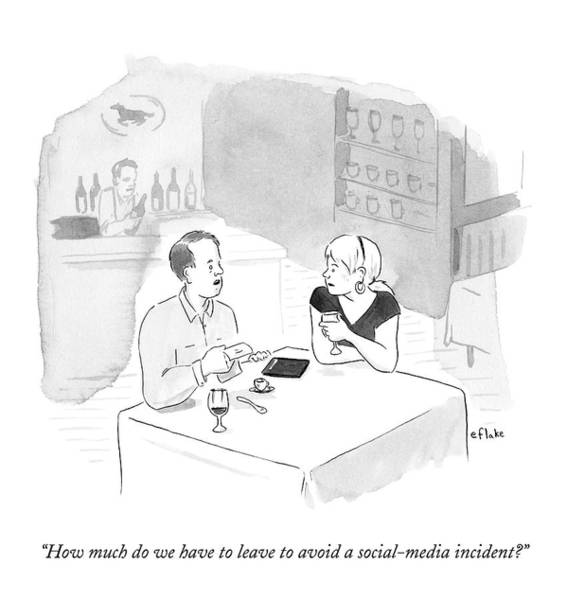 Social Media Drawing - A Man Speaks To His Wife At A Restaurant by Emily Flake
