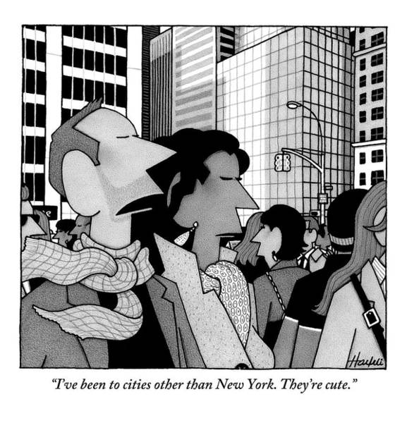 News Drawing - A Man Speaks To His Wife In The Midst Of New York by William Haefeli