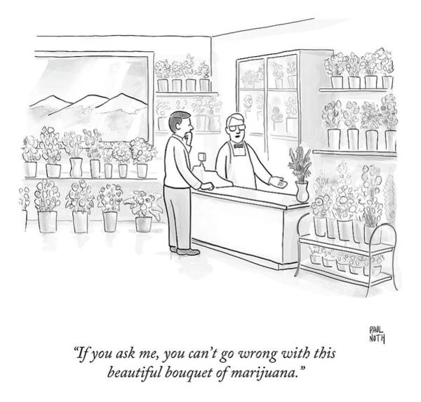 Flower Drawing - A Man Speaks With An Assistant At A Flower Shop by Paul Noth