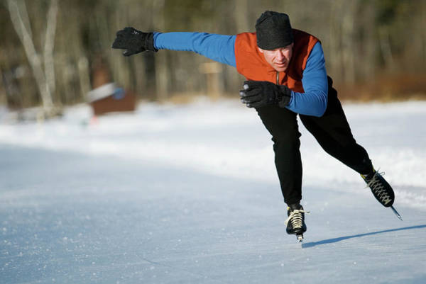 Wall Art - Photograph - A Man Speedskating On Lake Morey by Chris Milliman