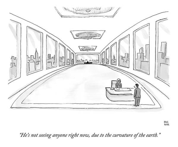 Earth Drawing - A Man Stand's Before A Secretary Seated by Paul Noth