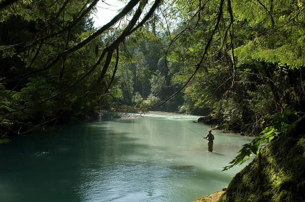 Fly Fishermen Photograph - A Man Stands In A River Wearing Waders by Alain Denis