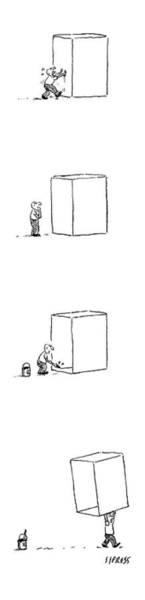 Carry Drawing - A Man Struggles To Move A Box. He Draws A Line by David Sipress