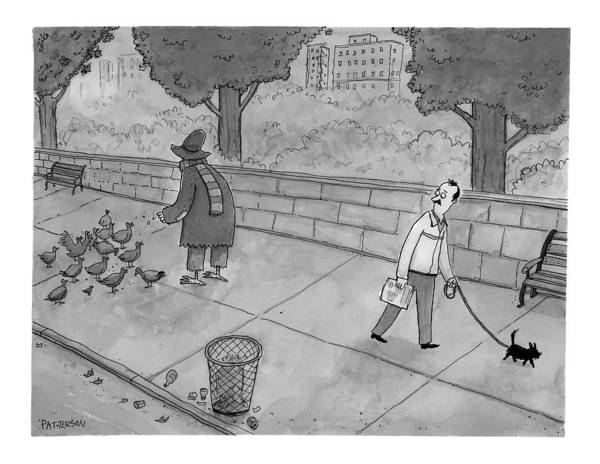 Disguise Drawing - A Man Walking His Dog Sees A Mysterious Figure by Jason Patterson