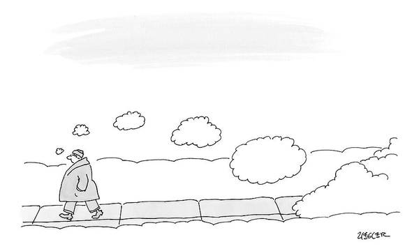 Thought Drawing - A Man Walks On The Sidewalk Trailing Thought by Jack Ziegler
