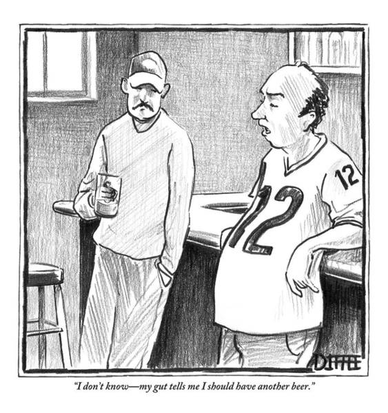 Football Drawing - A Man With A Beer Belly by Matthew Diffee