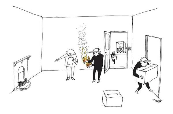 Furniture Drawing - A Man With A Clipboard Directs A Mover Holding by Edward Steed