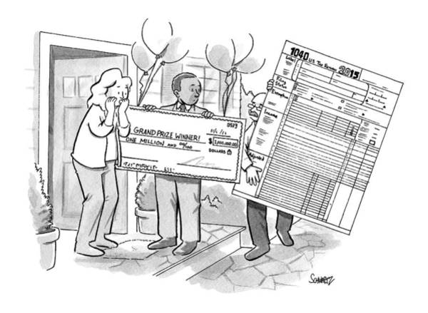 Money Drawing - A Man With A Giant Sweepstakes Check by Benjamin Schwartz