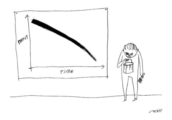 Bucket Drawing - A Man With A Paint Bucket Stands By A Graph by Edward Steed