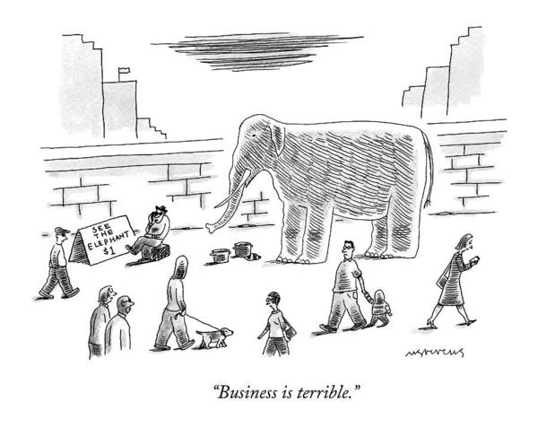 Elephants Drawing - A Man With An Elephant Speaks On The Phone by Mick Stevens
