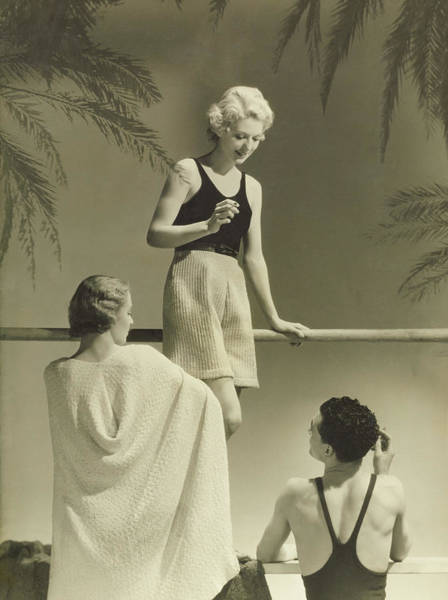 Outdoor Photograph - A Man With Peggy Leaf And Marie-claude Vogel by Horst P. Horst