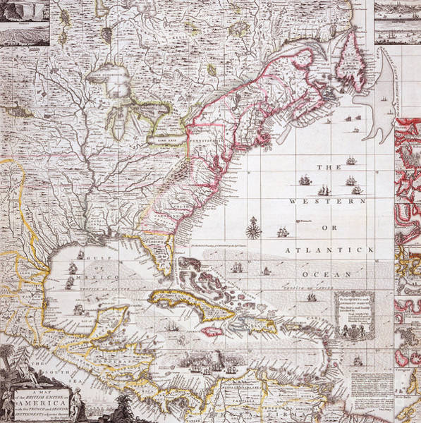 Territory Painting - A Map Of The British Empire In America With The French Settlements Adjacent Thereto by Henry Popple