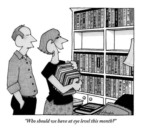 August 5th Drawing - A Married Couple Reorganizes Their Bookshelf That by William Haefeli
