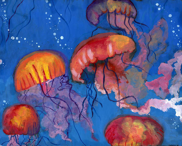 Jellyfish Painting - A Maze Of Jellyfish By Catherine Cui by California Coastal Commission