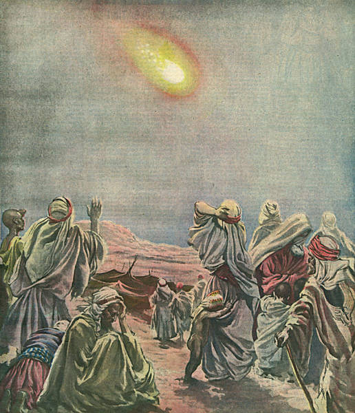 Interpret Drawing - A Meteor Over The Sinai Desert by Mary Evans Picture Library