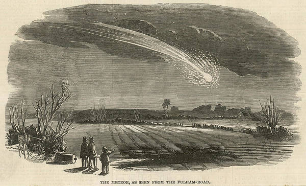 Fulham Road Wall Art - Drawing - A Meteor Seen Above The Fields by  Illustrated London News Ltd/Mar