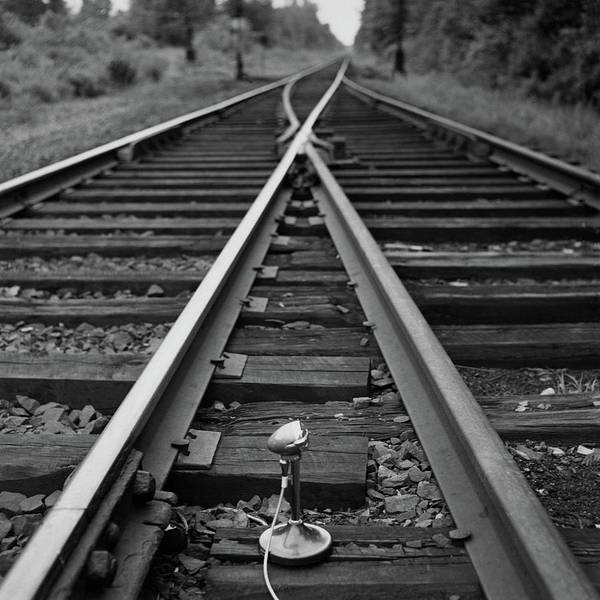 Photograph - A Microphone Placed In Between Railroad Tracks by Richard Rutledge
