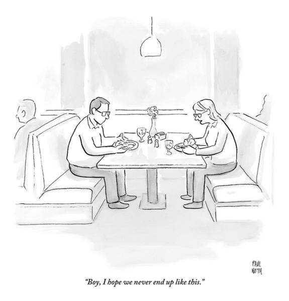Hope Drawing - A Middle Aged Woman Tells Her Husband by Paul Noth