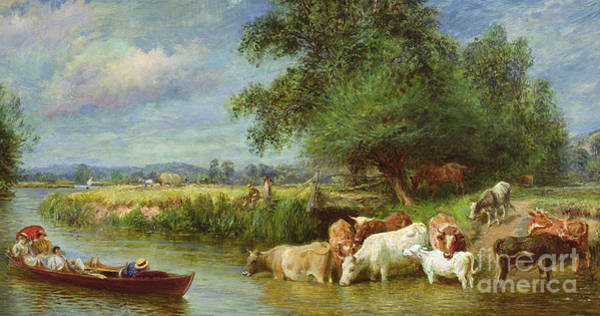 Punt Painting - A Midsummer's Day On The Thames  by Basil Bradley