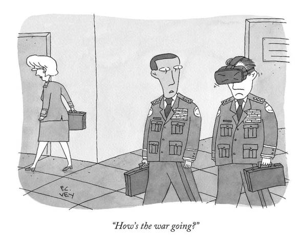 Military Drawing - A Military Defense Officer Asks A Second One by Peter C. Vey