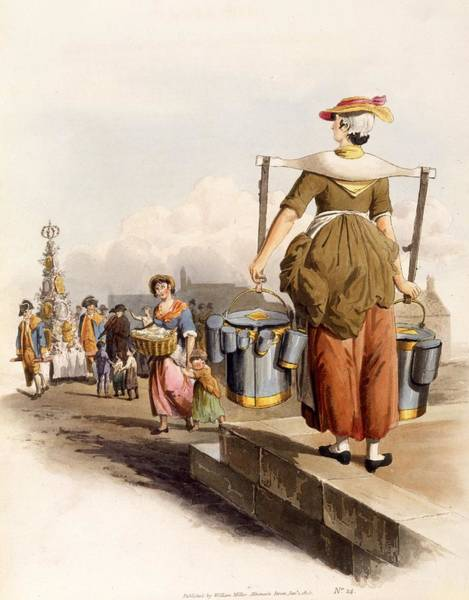 Milk Painting - A Milkmaid, From The Costumes Of Great by William Henry Pyne