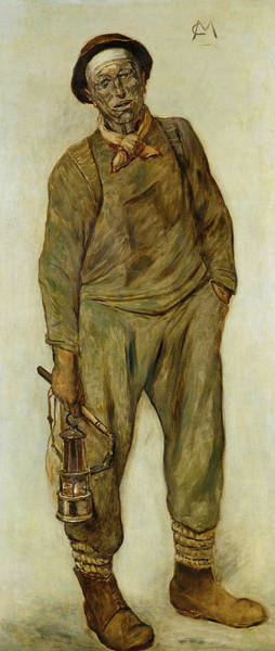 Mining Photograph - A Miner Oil On Canvas by Constantin Emile Meunier