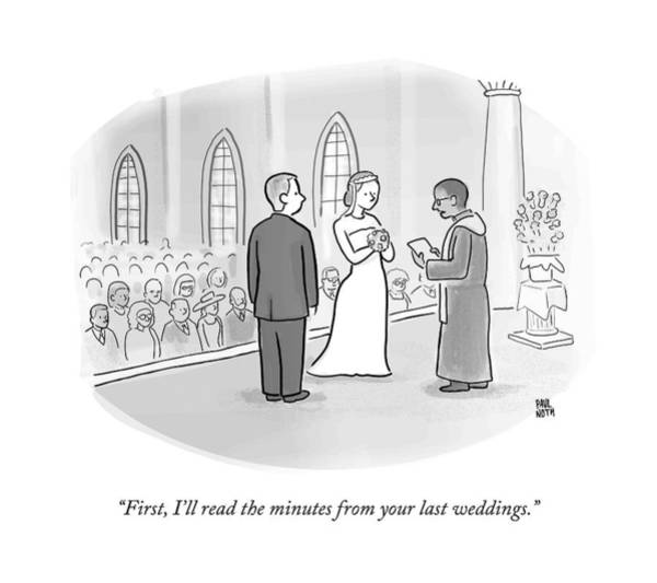 Divorce Wall Art - Drawing - A Minister Performing A Wedding Speaks by Paul Noth