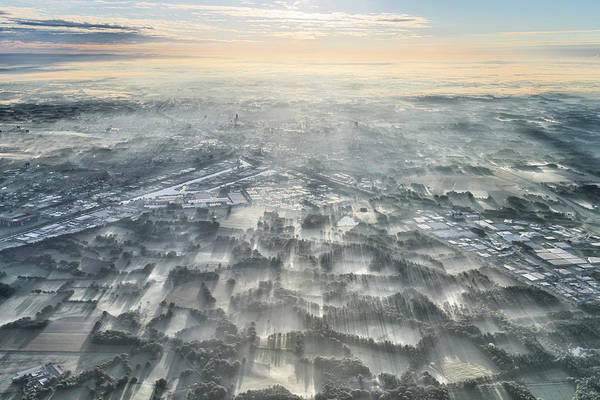 Aerials Photograph - A Misty Morning by Kos Karathanasis