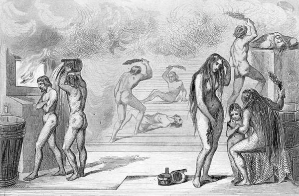 Sauna Wall Art - Drawing - A Mixed Russian Sauna - Men  And Women by Mary Evans Picture Library